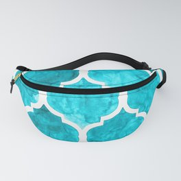 Elegant turquoise quatrefoil pattern in watercolor Fanny Pack