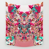 botanical Wall Tapestries featuring Botanical Pink by RIZA PEKER