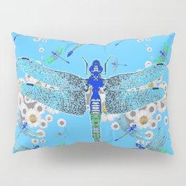 BLUE DRAGONFLIES LILAC WHITE DAISY FLOWERS  ART Pillow Sham