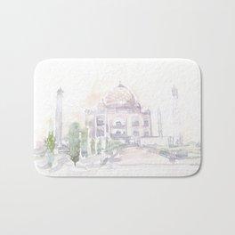 Watercolor landscape illustration_India - Taj Mahal Bath Mat