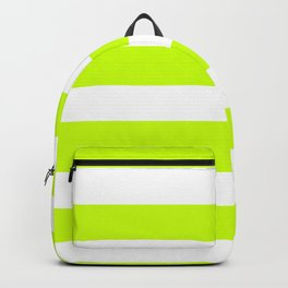 Horizontal Stripes - White and Fluorescent Yellow Backpack