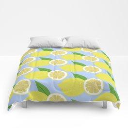 Lemon fruits on blue Comforters