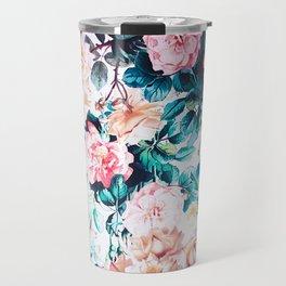 Modern blush pink green watercolor roses floral Travel Mug