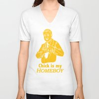 lakers V-neck T-shirts featuring Chick is my Homeboy! by GOGILAND