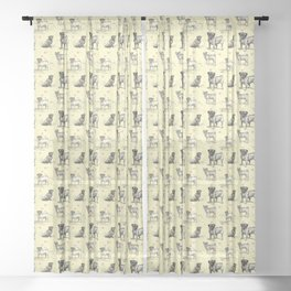 LOVE PUGS - Pug Dogs & Pastel Hearts Sheer Curtain