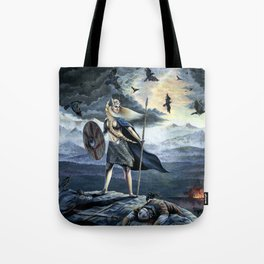 Valkyrie and Crows Tote Bag