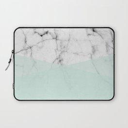 Real White Marble Half Mint Green Shapes Laptop Sleeve