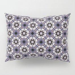Plum White and Black Digital Flower Pattern Pillow Sham