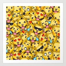 Pitbull Pattern Yellow Art Print
