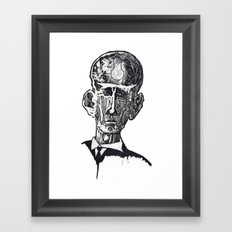 Old man woodblock Framed Art Print