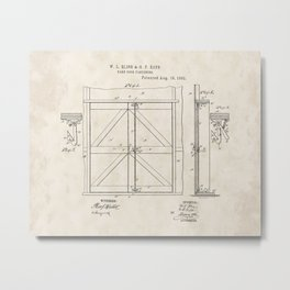 Barn Door Fastening Vintage Patent Hand Drawing Metal Print