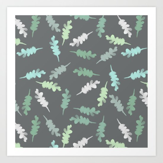 Watercolor Painted Oak Leaves Art Print