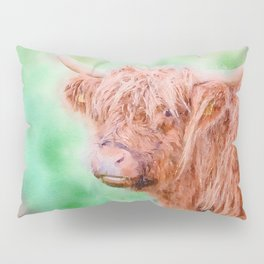 Highland cow close up watercolor Pillow Sham
