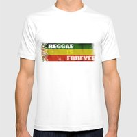 Reggae Is Forever II MEDIUM White Mens Fitted Tee