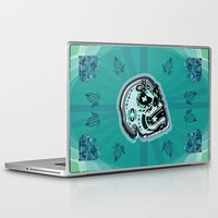 sarcasm Laptop & iPad Skins featuring Sarcasm skull on pillow by NENE W