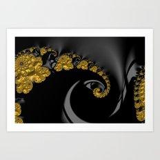 Fractal Shell Gold Art Print