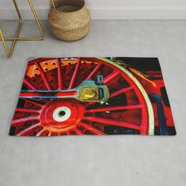 Large Red Wheel Of A Retro Steam Locomotive Rug