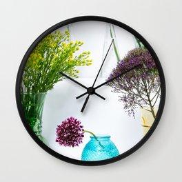 Flowers in vases still life Wall Clock