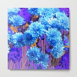 Aqua-Blue Mums Flower Pattern Abstract Metal Print