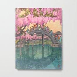 Yoshida Kameidô Japanese Woodblock Print Vintage Asian Art Wisteria Garden Bridge Metal Print