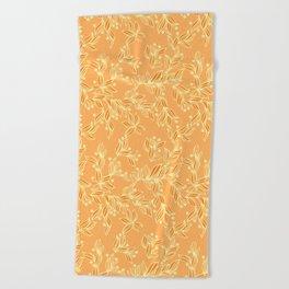 Orange Floral Pattern Beach Towel
