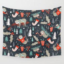 Slothy Holidays Wall Tapestry