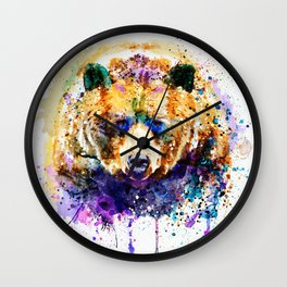 Colorful Grizzly Bear Wall Clock