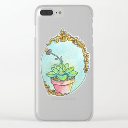 Watercolor succulent with scroll work Clear iPhone Case