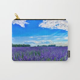 Wildflowers Blooming in a Meadow | Purple Lavender Perennials Deep Blue Sky Spring Landscape France Carry-All Pouch