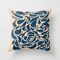 whales Throw Pillows featuring Whales by Amanda Lima