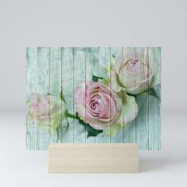 Vintage Shabby Chic Pink Roses On Wood Mini Art Print