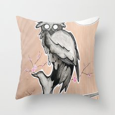 Owl on the branch with a full moon Throw Pillow