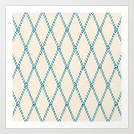 Nautical Fishing Net (Beige and Teal) Art Print
