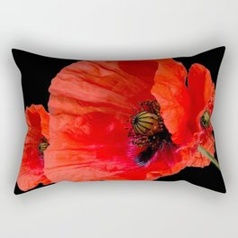 Poppies on Black Rectangular Pillow
