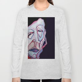 Thinker Surreal Melting Portrait Of a Man Damned Poet Long Sleeve T-shirt