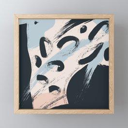 Modern abstract black ivory blush blue brushstrokes Framed Mini Art Print