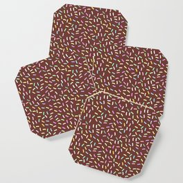 chocolate Glaze with sprinkles. Brown abstract background Coaster