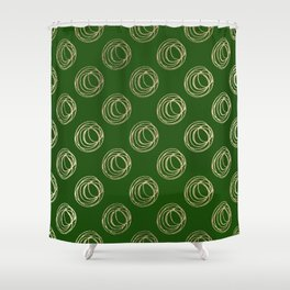 Forest green faux gold abstract geometrical swirls Shower Curtain