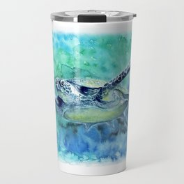Swimming Turtle In Watercolor Travel Mug