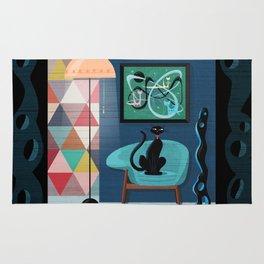 Creature Comforts Mid-Century Interior With Black Cat Rug