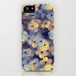 Floral Mauve-Blue-Yellow iPhone Case