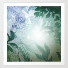 DOWN IN THE PARK. Art Print