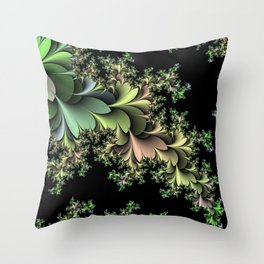 Kale Leaves Fractal Throw Pillow