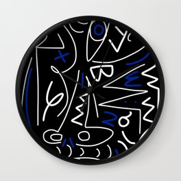 line art abstract blue and white Wall Clock