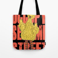 sesame street Tote Bags featuring OCCUPY SESAME STREET by perilpress
