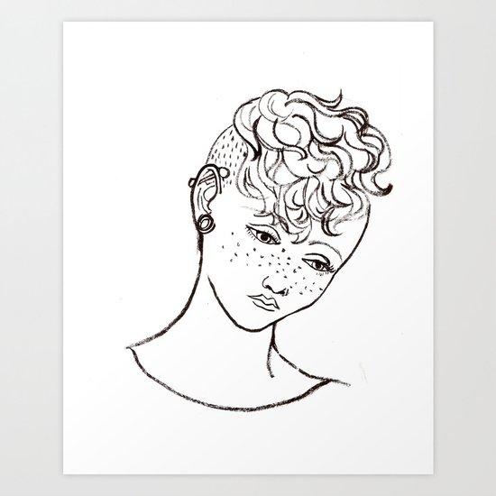 Young girl head Art Print