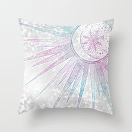 Elegant Iridescent Sun Moon Mandala Silver Design Throw Pillow