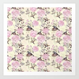 Vintage & Shabby Chic - Lush pastel roses and hummingbird pattern Art Print
