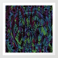 Purple and Green Doodle 14 Art Print