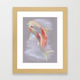 Koi Fish Swimming Framed Art Print